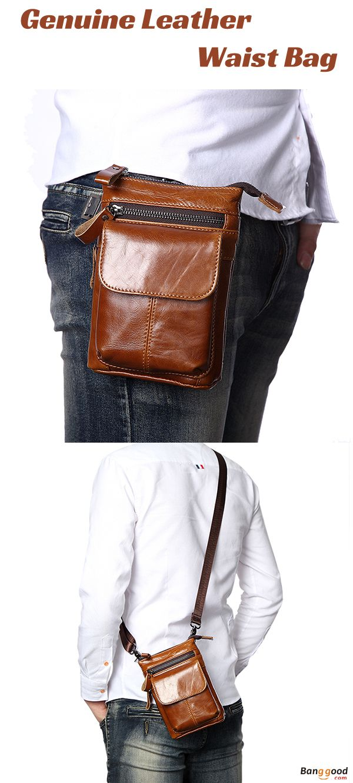 f8d62175e34 7inch Cell phone Bag, Waist Bag, Men Bag, Retro Bag, Genuine Leather Bag,  Camera Gear, Waist Bag. Material  Cowhide. Color  Black, Khaki, Dark Coffee.