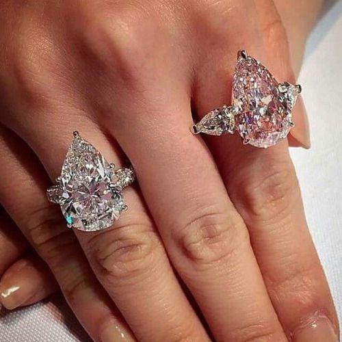 1444afb5da8258 Pear shaped diamond and pear shaped pink diamond rings. Broke Girl,  Expensive Taste