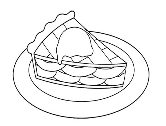 Sweet Slice Apple Pie Coloring Page For Kids Apple Coloring Pages Coloring Pages Food Coloring Pages