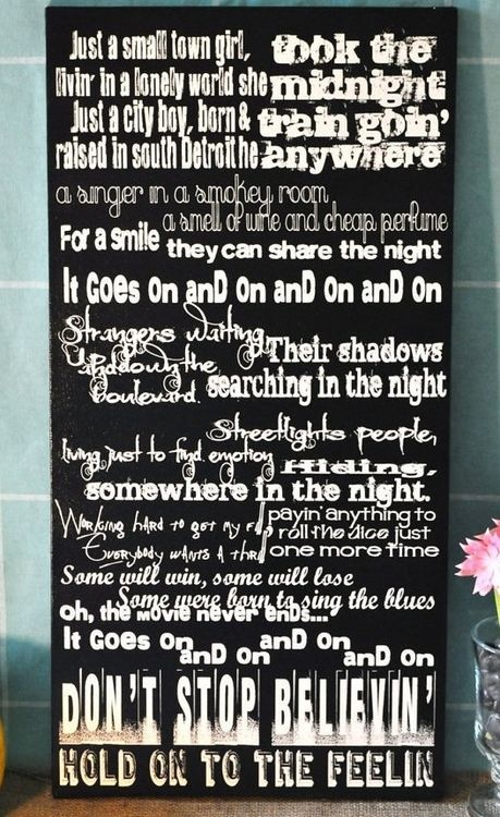 Don T Stop Believing Journey Song Lyrics Canvas Size 12x24