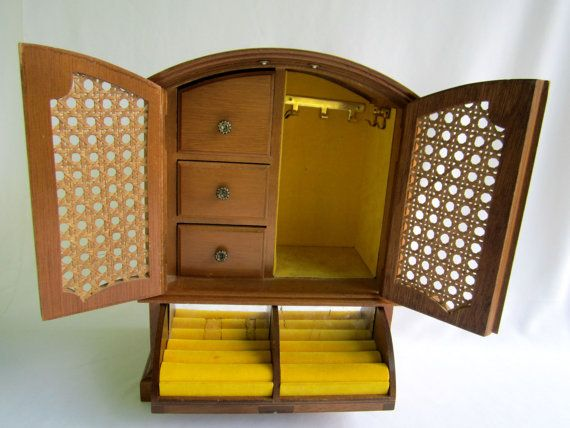 Drawer 2 Sections. Vintage Mans Dresser Box With Trays and Drawer for Jewelry and Trinkets Top Door Has Ring Holder Section and Open Area