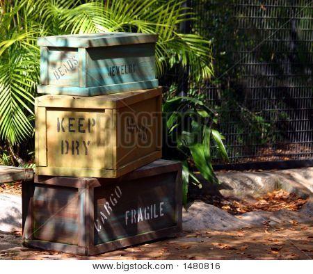 Stack Of Cargo Crates On Safari   Stock photo