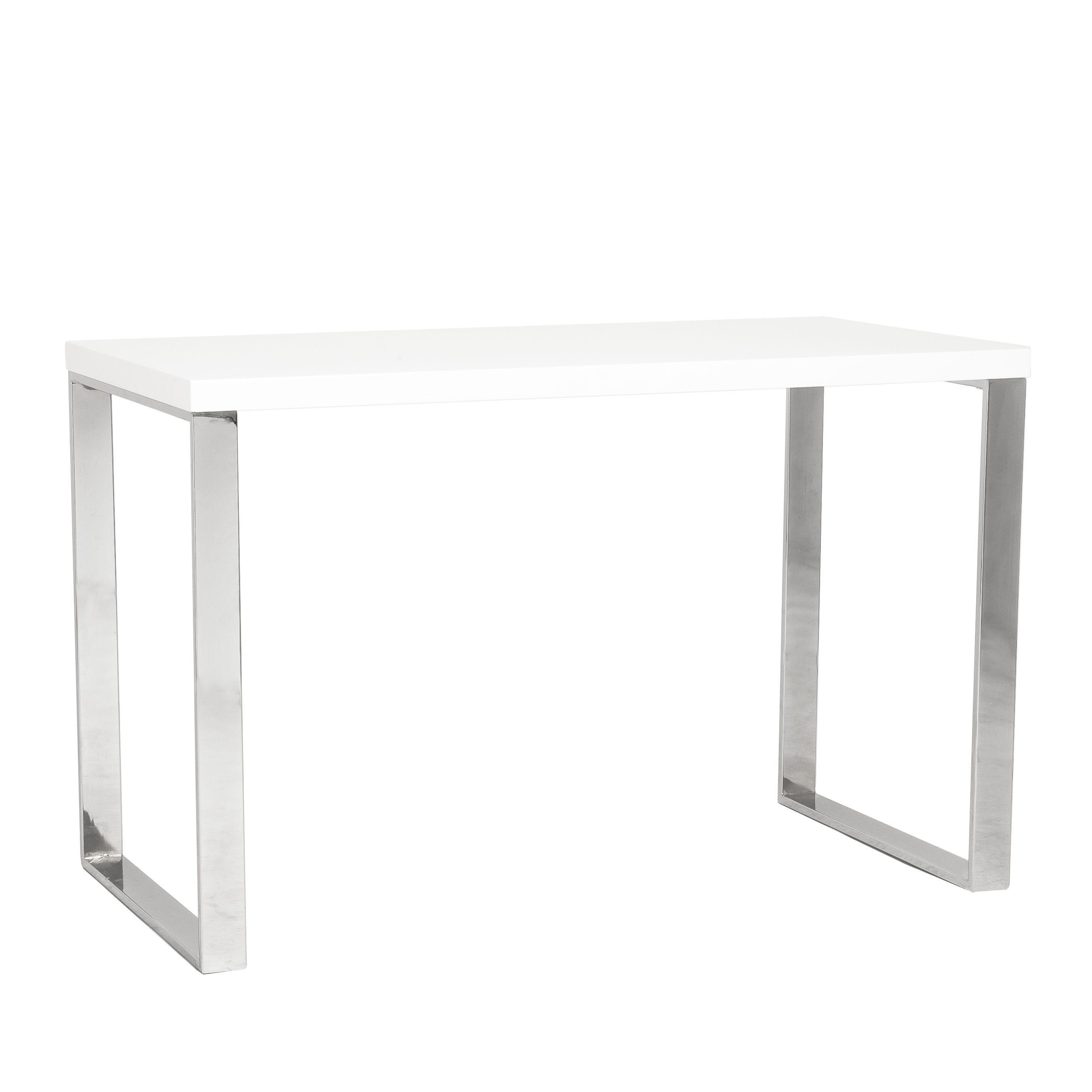 Dillon Desk White Lacquer Polished Stainless Steel Grey Euro