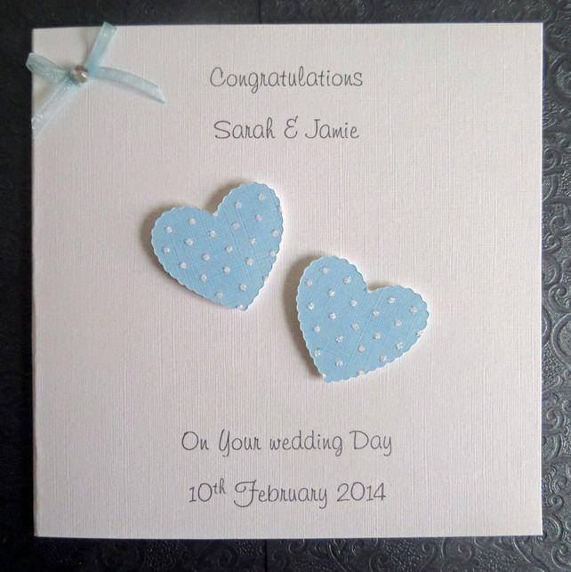 Personalised Handmade Wedding Day Card - Polka Dots - Pale Blue SC105 £2.75