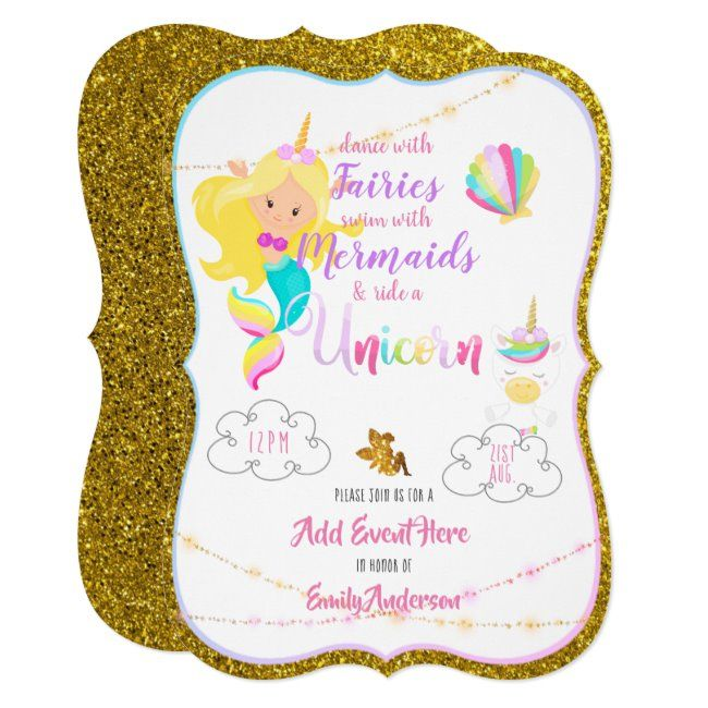 Fairy Mermaid Unicorn Invitations Gold Glitter   Zazzle com - Unicorn invitations, Gold glitter invitation, Pink invitations, Gold invitations, Unicorn birthday invitations, Girl birthday party invitations - Dance with fairies, swim with mermaids, ride a unicorn girls birthday party invitations ANY age (or other event) as desired                                                                           1  Edit the text as per the template fields                                                                           2  If you require assistance, matching items or custom design contact Designer LeahG via the tab below