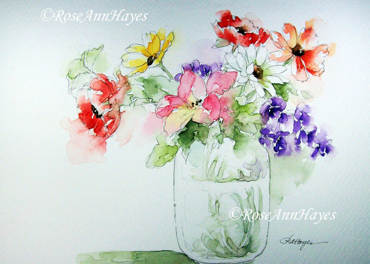 Bouquet Mixte En Verre Pot Impression De Peinture Par Roseannhayes