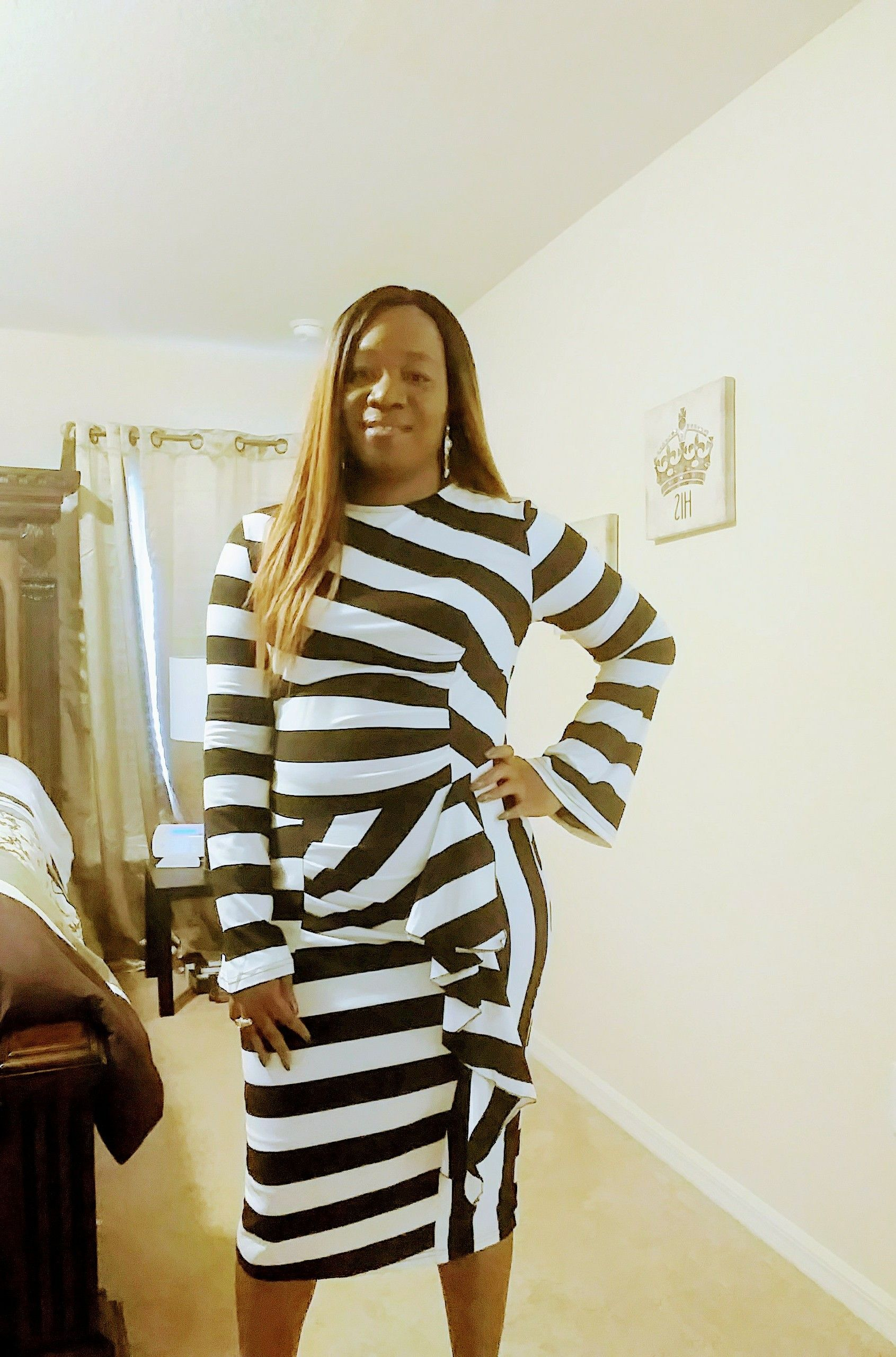 Long sleeve striped back slit ruffle dress black white stripes and