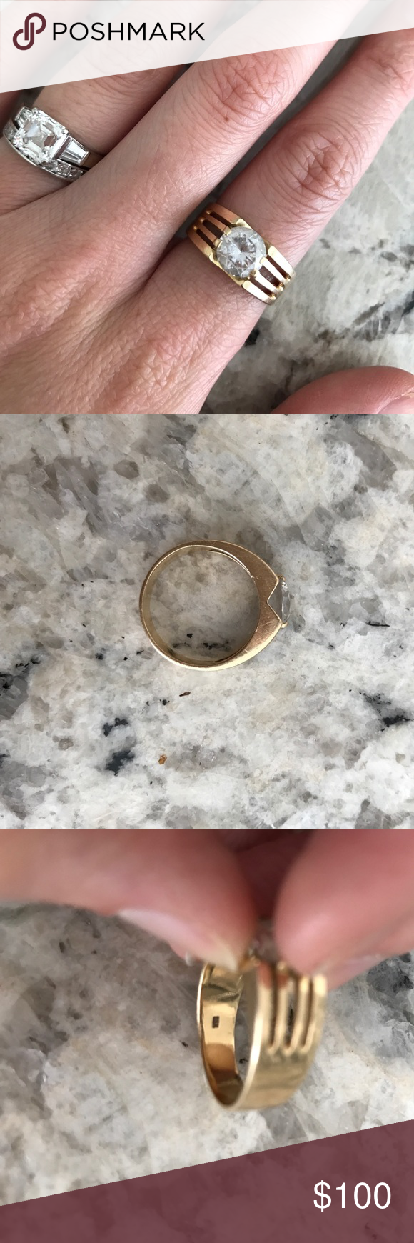18k solid yellow gold cubic zirconia ring Cool vintage design.  Stamped 18k.  Just tested with a magnet to confirm it's solid! Vintage Jewelry Rings