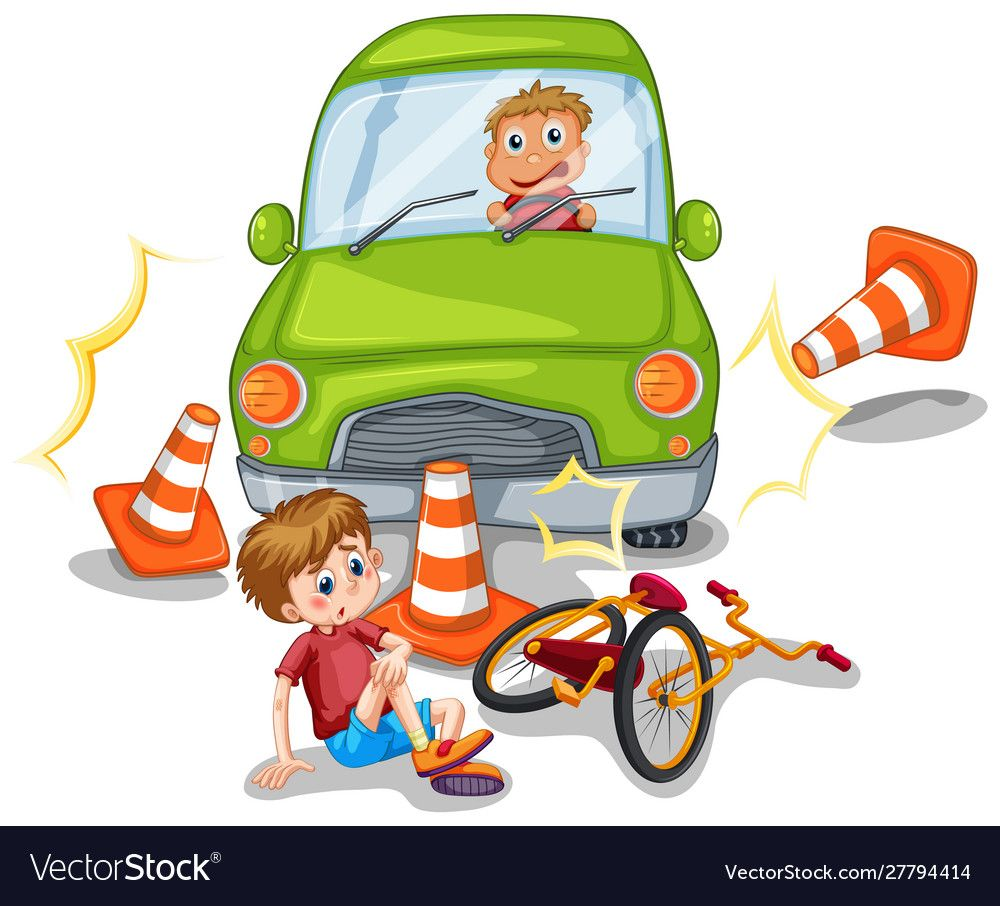 Accident Scene With Car Crashing A Bike Illustration Download A Free Preview Or High Quality Adobe Illustrator Ai Eps Pdf A Bike Illustration Car Crash Bike