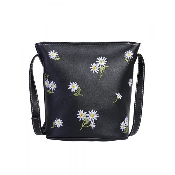 ddf0aa825db PU Leather Flower Embroidered Crossbody Bag | Bags | Leather flowers ...