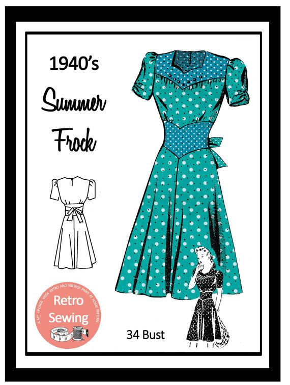 1940 S Sweetheart Neckline Tea Dress Pdf Print At Home Etsy In 2020 Dress Sewing Pattern 1940s Tea Dress Sewing Dresses