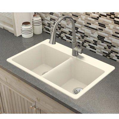 Elkay Quartz Luxe 33 L X 22 W Double Basin Drop In Kitchen Sink