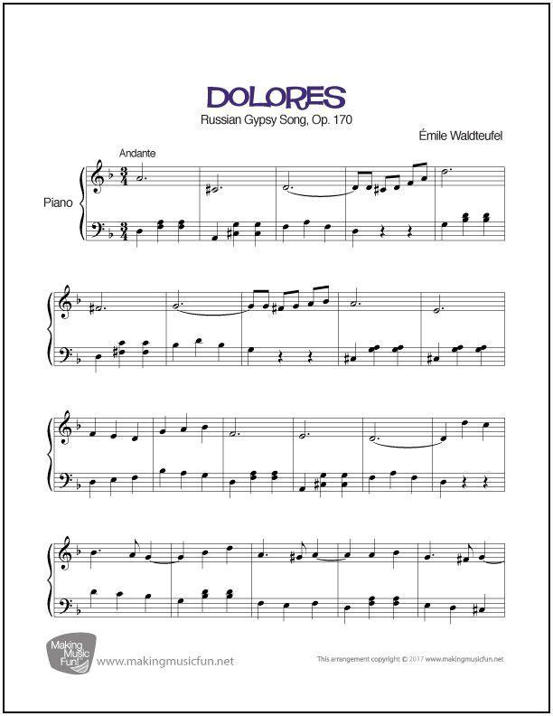 Dolores Waltz (Waldteufel) | Sheet Music for Piano (Digital Print ...