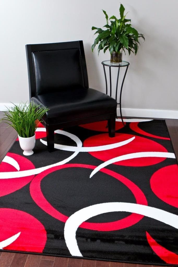 Contemporary Area Rug Black Red And White Colors Contemporary Area