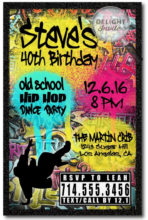 90s hip hop graffiti birthday invitations