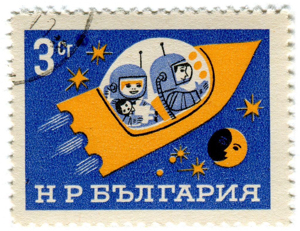 Die Weltraumfamilienbriefmarke