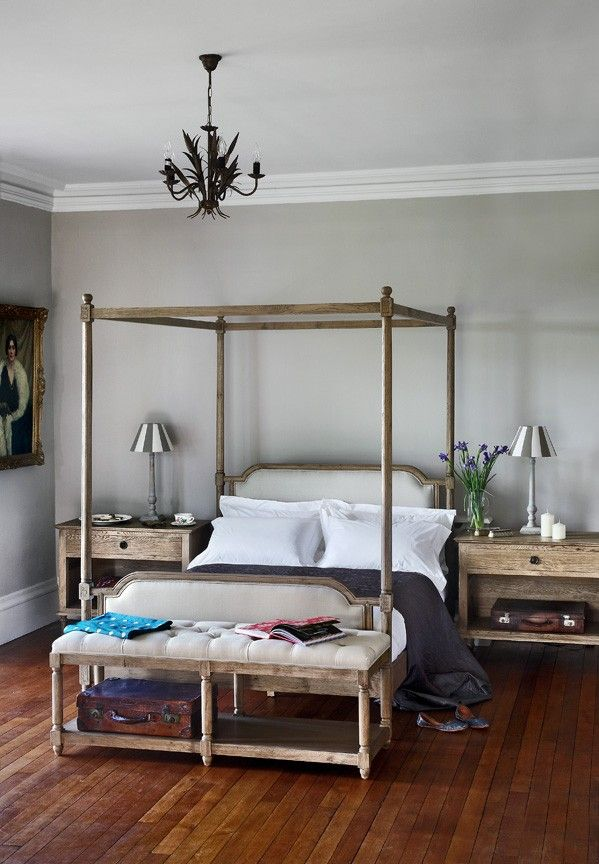 Oak Four Poster Bed King Size Weathered Oak Linen French Style - Weathered oak bedroom furniture