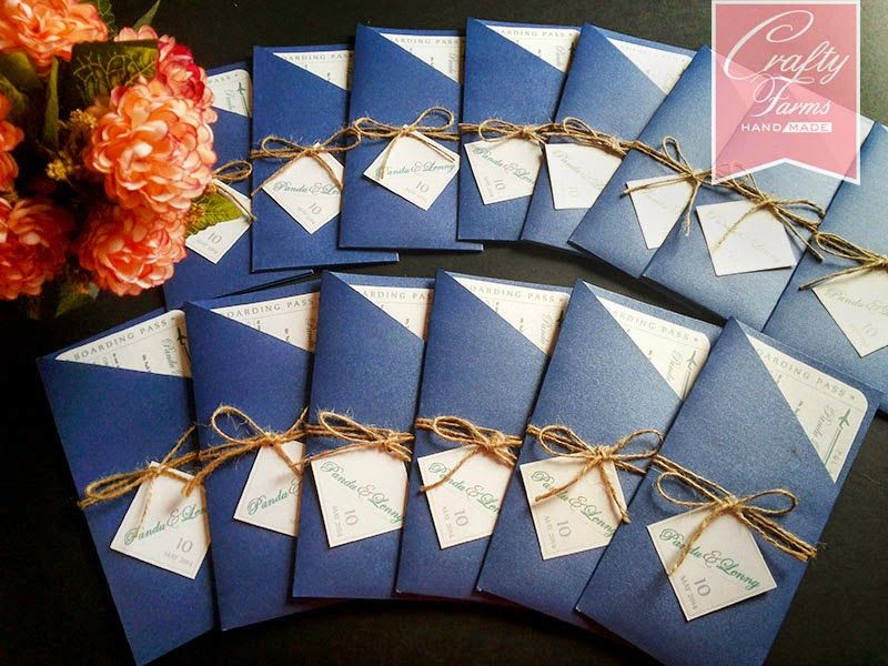Wedding Card Malaysia | Crafty Farms Handmade Navy blue destination ...