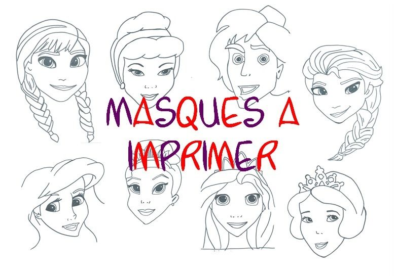 Masques imprimer bricolages carnaval et cirque disney diy walt disney et mardi gras - Jeux princesse des neiges ...