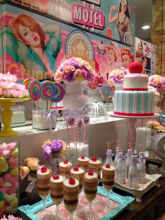 mesa de dulces pin up sock hop in 2018 bridal shower lingerie party bridal