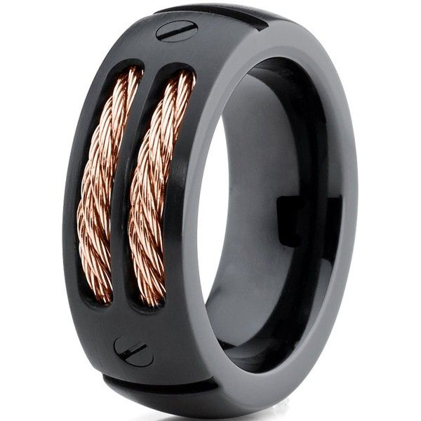 Beautiful Titanium Wedding Band Ring mm for Men Women Comfort Fit Black Rose