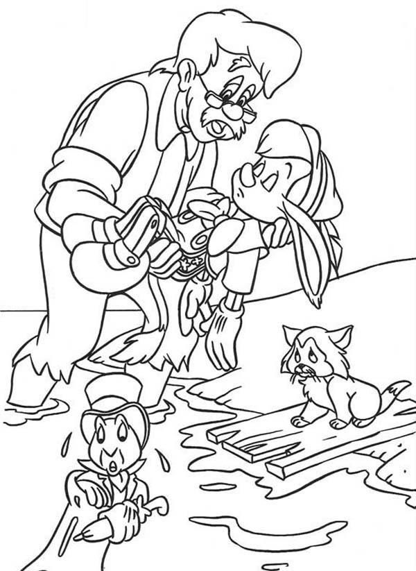pinocchio is lost his consciousness coloring pages