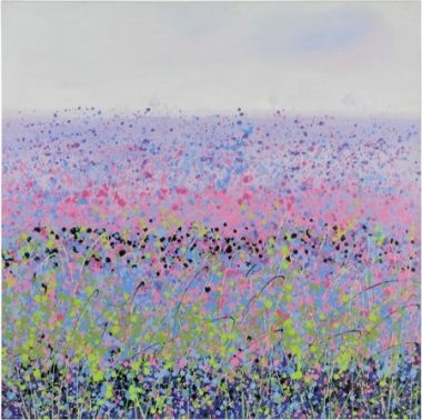 In a hazy field of purple flowers on a fine summer day, the RENWIL Peppercorn hand-painted canvas evokes the feelings of warmth and peace no matter what the weather outside (#OL1022).