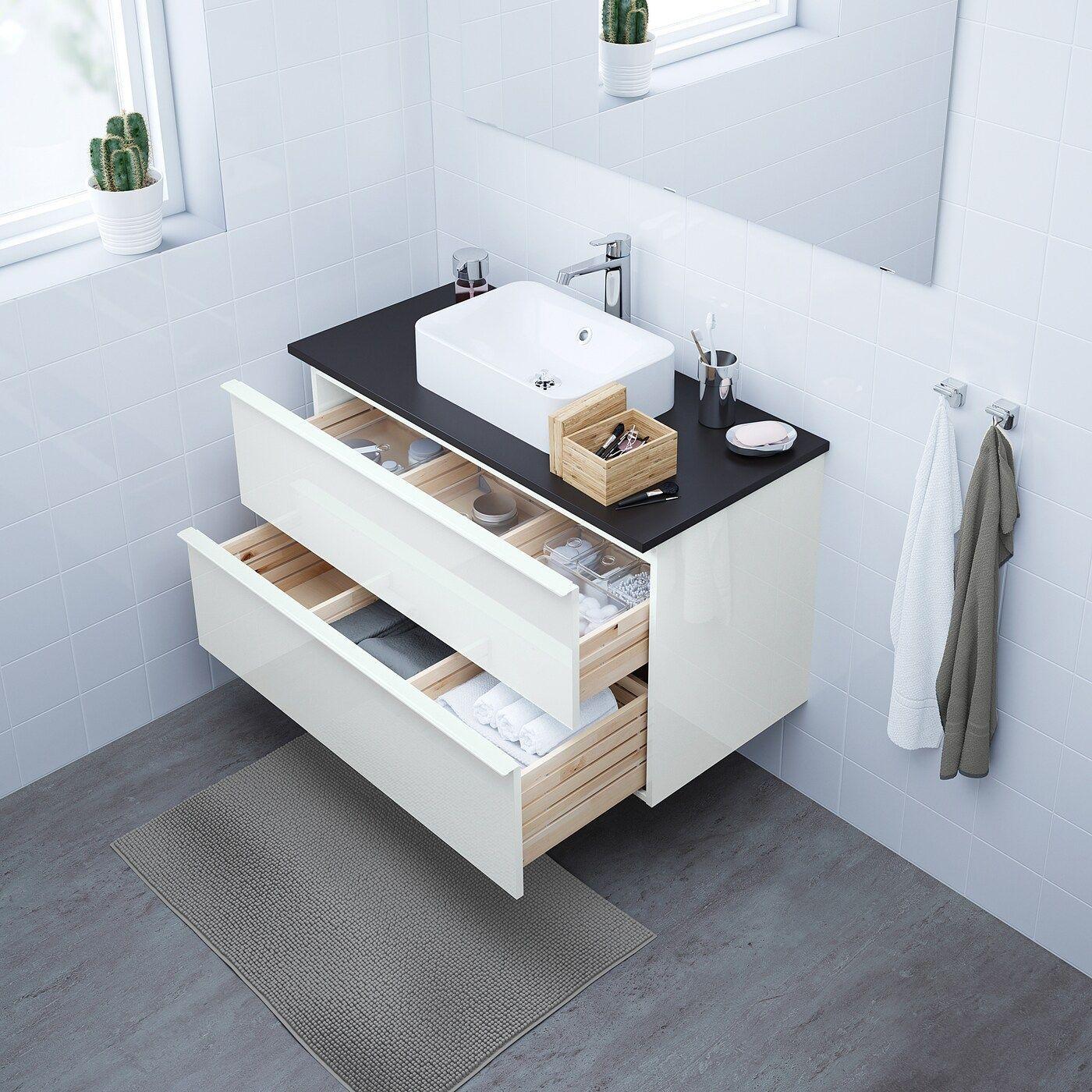 Ikea Godmorgon Tolken Horvik Waschbeckenschr Aufsatzwaschb 45x32 Hochglanz Weiss Anthrazit Brogrund Mischbatter In 2020 Ikea Godmorgon Bambus Badezimmer Waschtisch