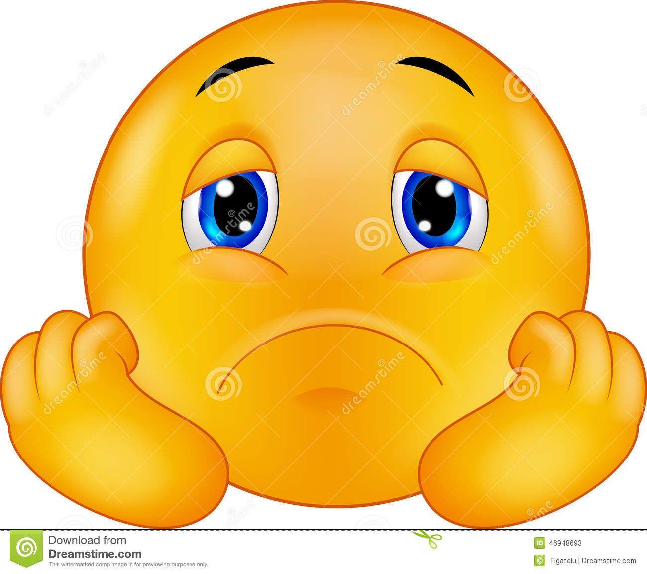 Trauriger Emoticon Smiley Der Karikatur Vektor Abbildung – Illustration von eins… – Smileys