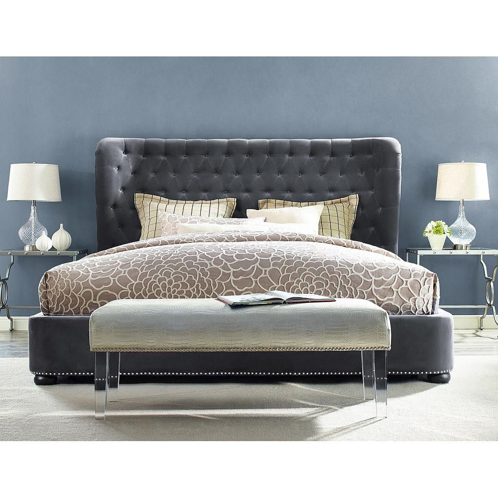 Finley Grey Velvet Queen Bed TOV-B23-Q