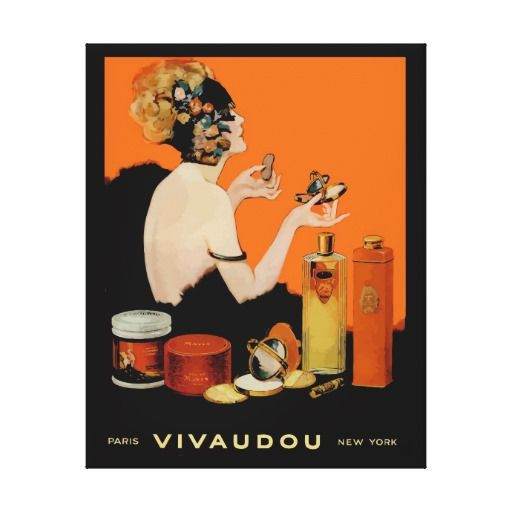 Vintage Beauty Perfume Poster, French Vivadou Stretched Canvas Print