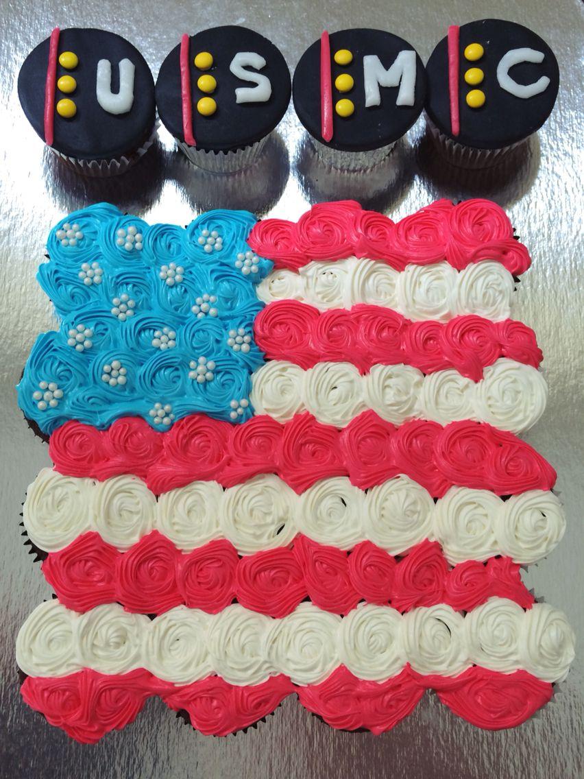 USMC cupcakes! Marine cake, Usmc birthday, Marine corps