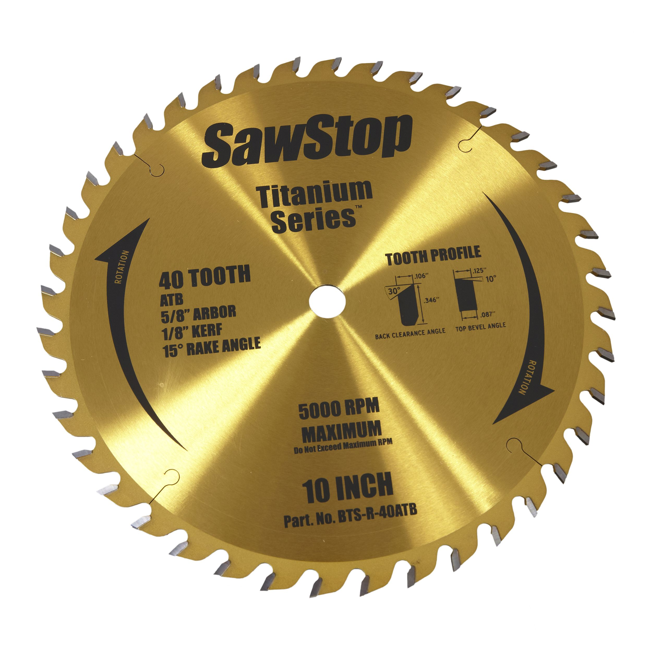 Sawstop Titanium Series 40t Combination Blade Blade Table Saw Blades Table Saw Accessories