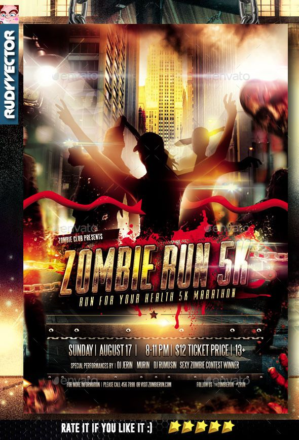 Zombie Run Marathon Event Flyer Event flyers and Marathons - zombie flyer template