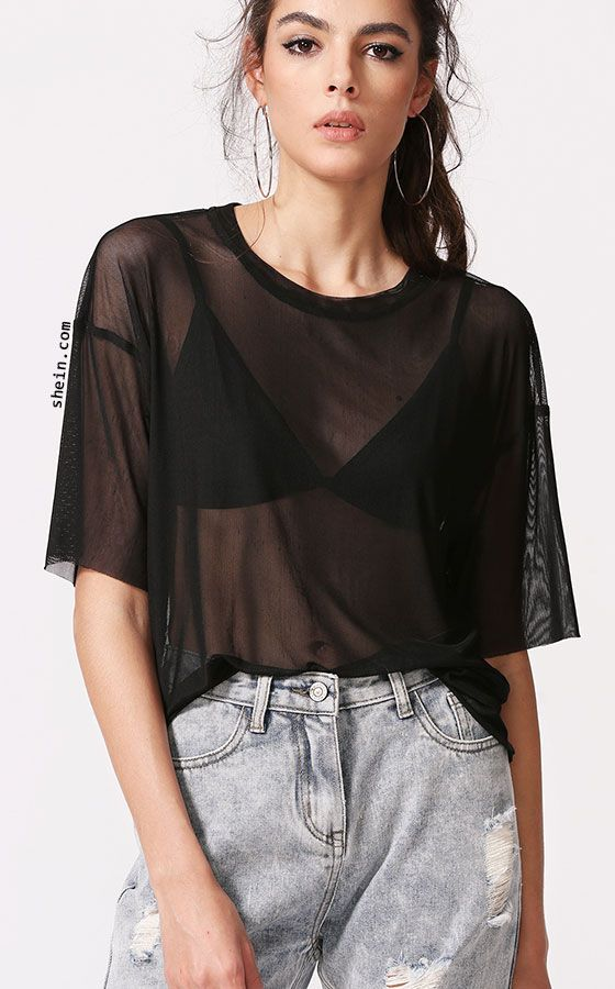 c113ccfe0d7fa Drop Shoulder Boxy Sheer Mesh Top