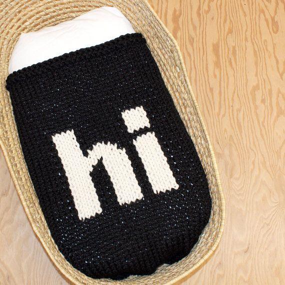 Black Knitted Hi Baby Blanket for Bassinet Stroller by YarningMade