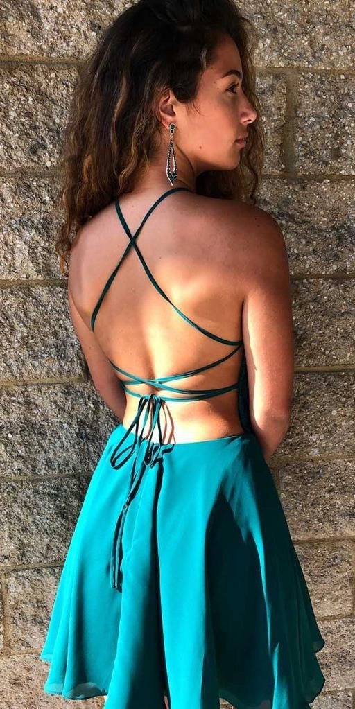 Spaghetti Straps Short Homecoming Dress with Appliques Cute Girls Cocktail Party Gowns Short Backless School Dance Dresses Sweet 16th Dresses SHD059 #shortbacklessdress