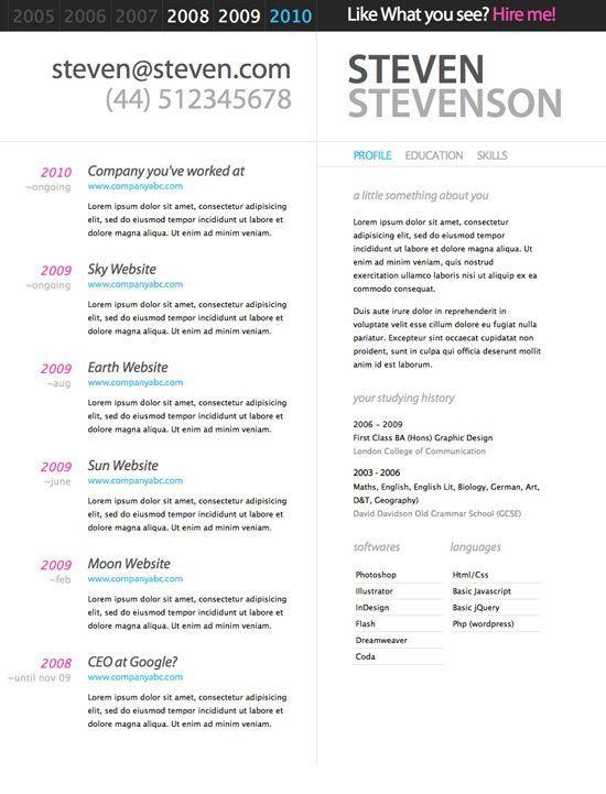 10 Beautiful Resume HTML Templates Promotion, mediakit, portfolio