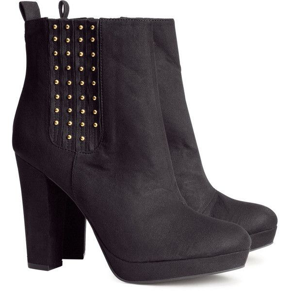 ef7cbe28192 H&M Imitation suede boots ($13) ❤ liked on Polyvore featuring shoes ...
