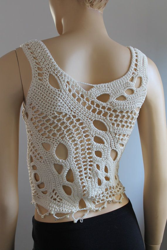 Crochet Tops, Ivory Cotton Freeform Crochet Tank , Summer top, one of a kind, Unique, Boho Chic, Sexy top tank, Beach cloth, Clothing gift