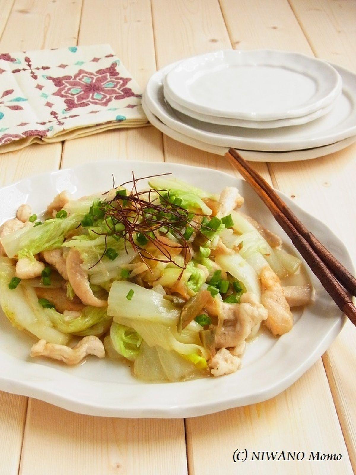 鶏むね肉と白菜のザーサイ炒め