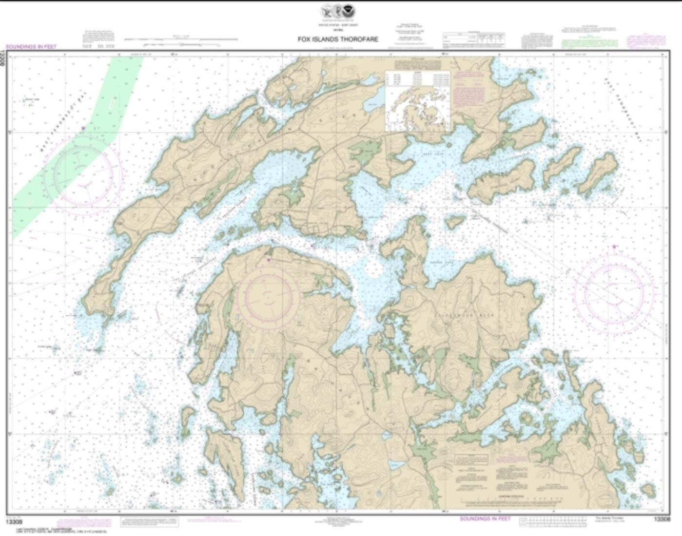 Fox Islands Thorofare 13308 13 By Noaa Nautical Chart Wall Art Prints Sailing Outfit