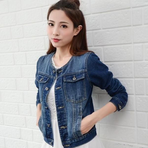 be2b93a2f001a Wholesale New Fashion Spring Autumn Vintage Denim Jackets Women s Jeans Coat  Ladies Jean Tops For Girls Outwear