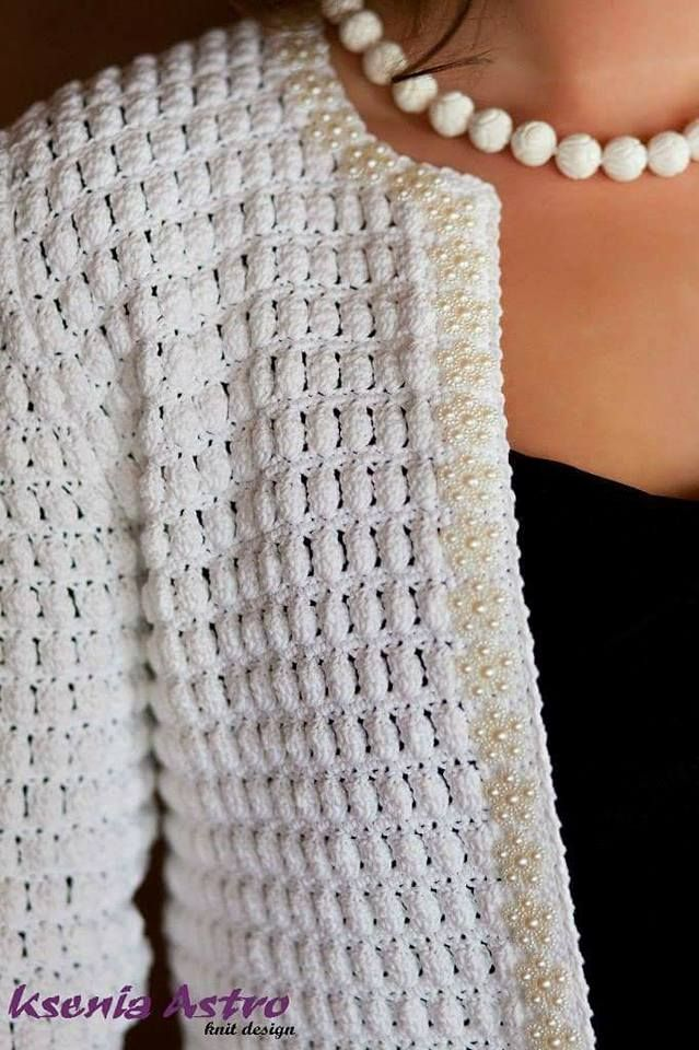 Favolosa Giacca Bianca Stile Chanel Giacca Tricot Et Crochet