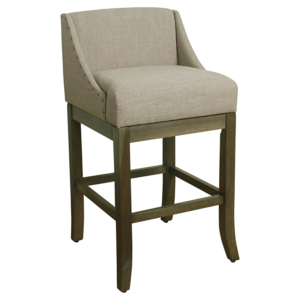 Cool 29 Low Back Nailhead Trim Barstool Gray Homepop Kitchen Andrewgaddart Wooden Chair Designs For Living Room Andrewgaddartcom