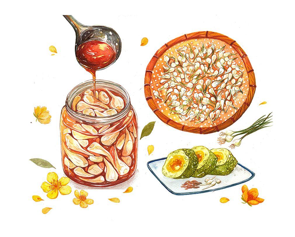 Watercolor Food Illustrationsclient Kitchen Art T Pot Journal