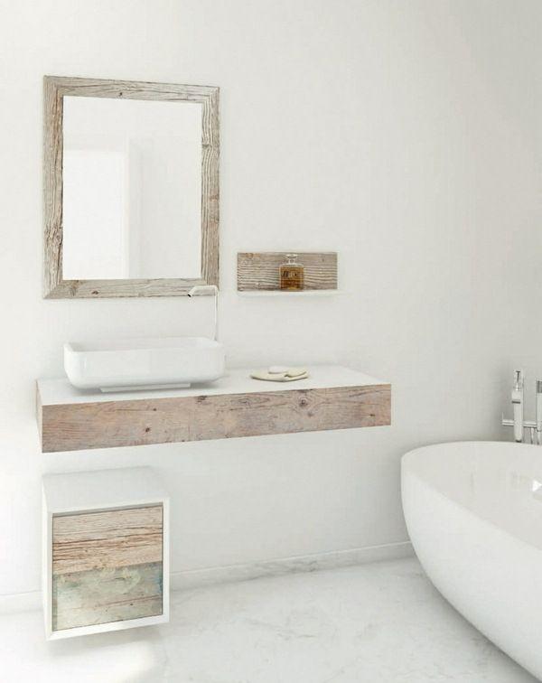 Bathroom shabby furniture design light mirror frame wooden bathtub ...