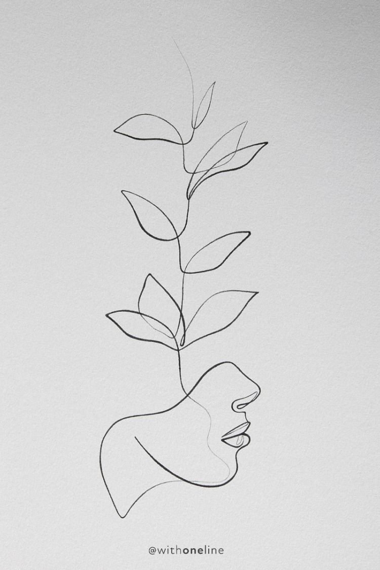 One With the Wild / botanical line drawing / one line drawing