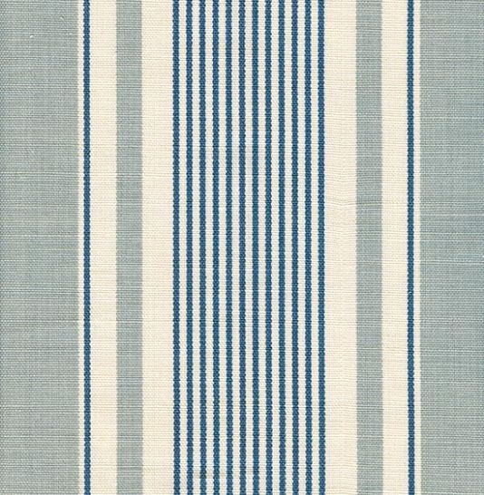 French Ticking Linen Fabric Duck Egg And Blue Stripe