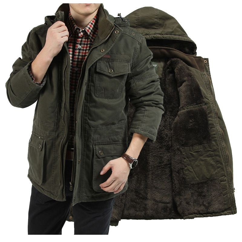 15f12c0dd88 AFS JEEP Plus Size Men s Winter Jacket Cotton Warm Thicken Military Coats   Jackets  thick Padded Men Parkas hood